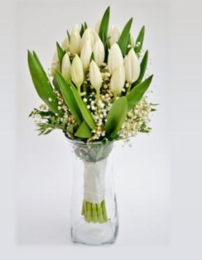 bouquet de tulipes blanches avec soupir de bebe