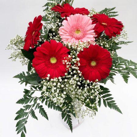 bouquet de gerberas rouges et roses avec soupir de bebe