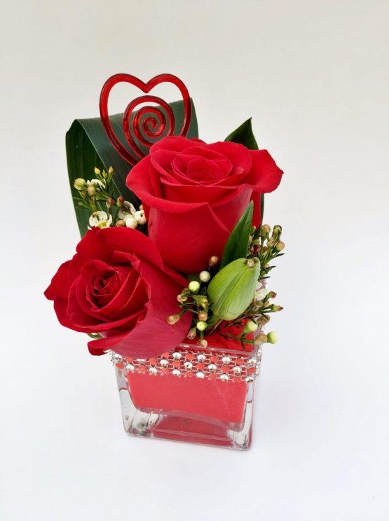 petites roses rouges, pour st-valentin
