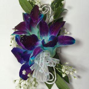 Bracelet d'orchidées bleues/mauves