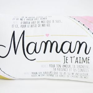 Coussin maman or et rose
