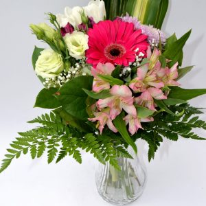 bouquet beauté divine, gerbera rose, alstromeria rose, lisianthus blanc