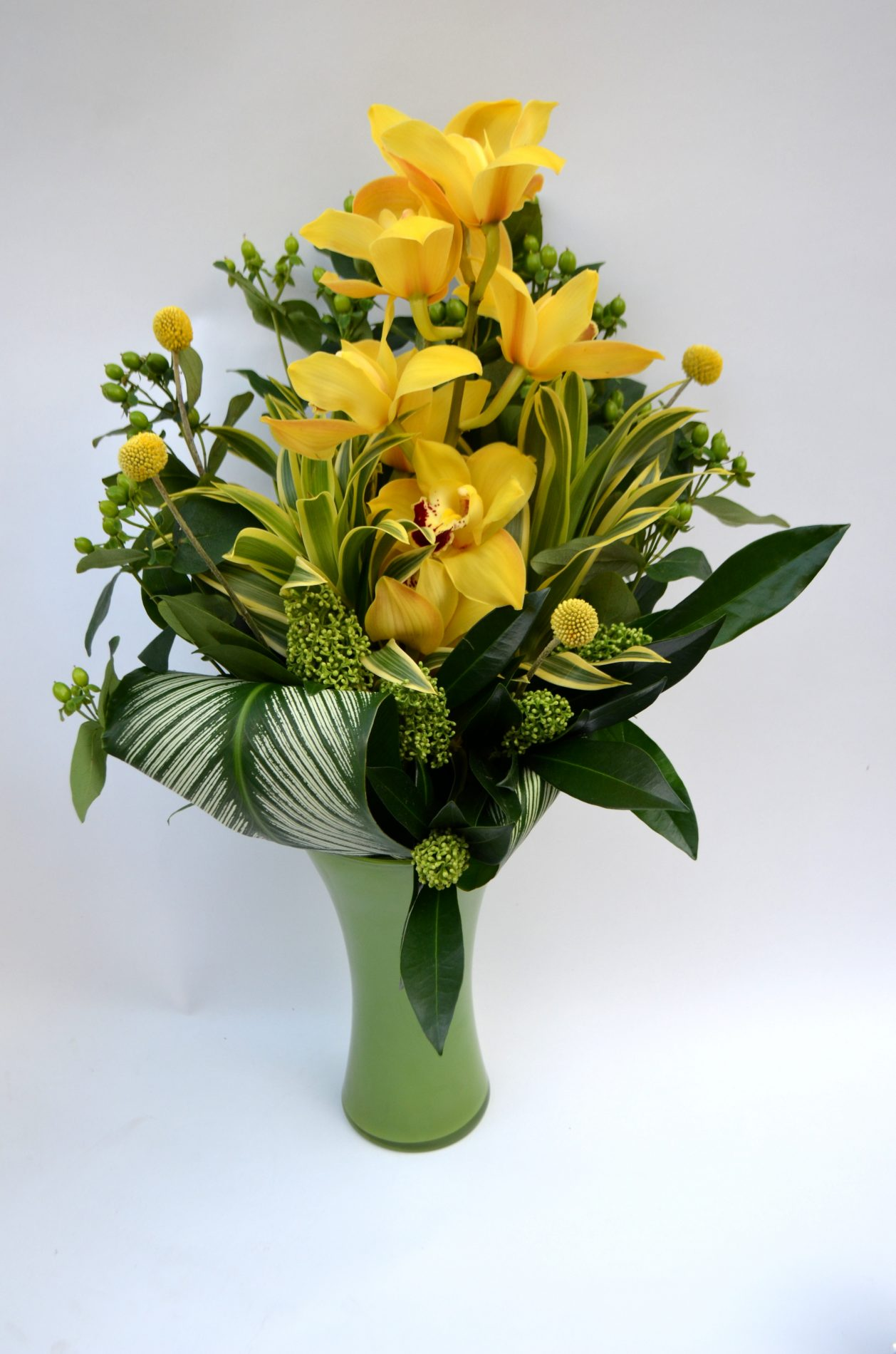 bouquet exotique radieux, orchidée cymbidum jaune