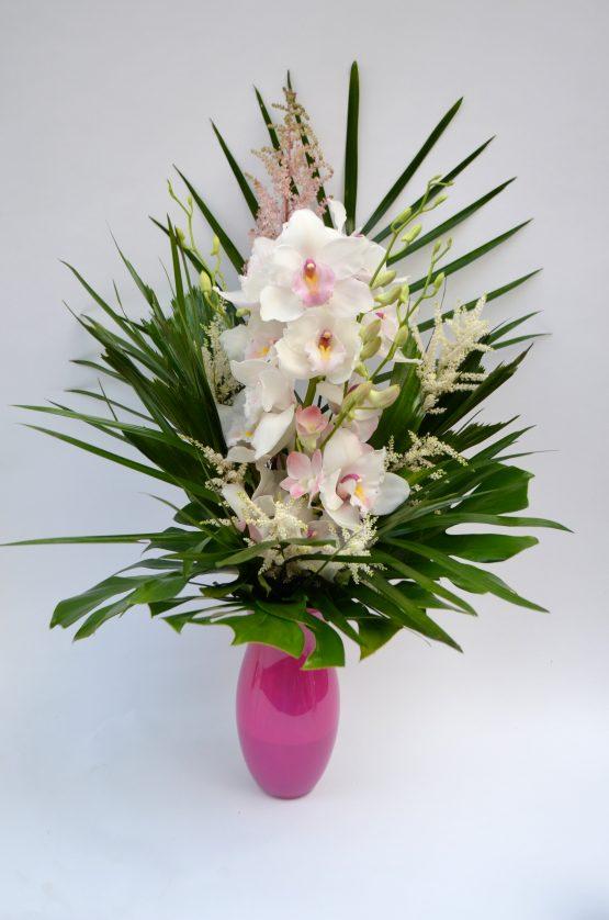 bouquet romantique, orchidée cymbidium et dendrobium