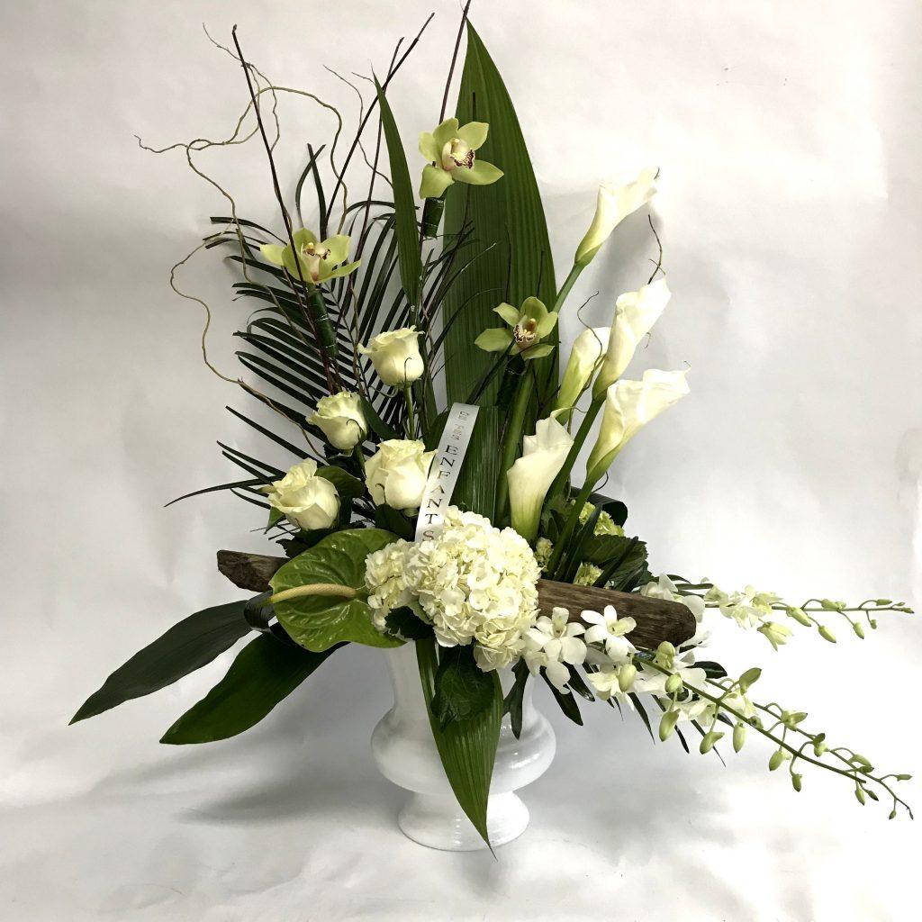 corbeille mortuaire blanche moderne funeral flower white