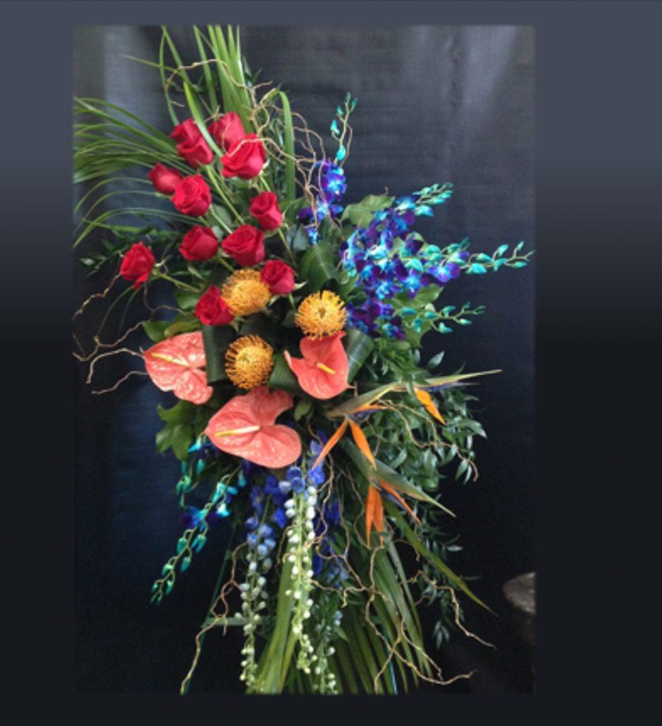 Gerbe funéraire tropical colorée