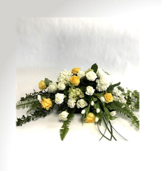 coussin de cerceuil fleurs jaunes