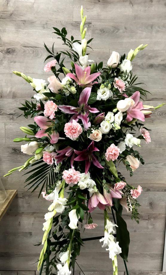 gerbe mortuaire fleurs roses