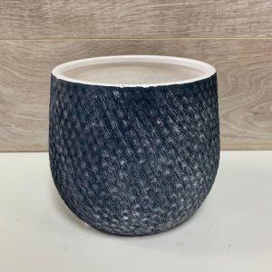 Pot de céramique bleu marine dégradé blanc